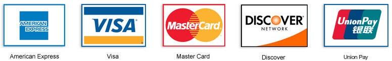 美国运通、Visa、Mastercard、Discover、中国银联